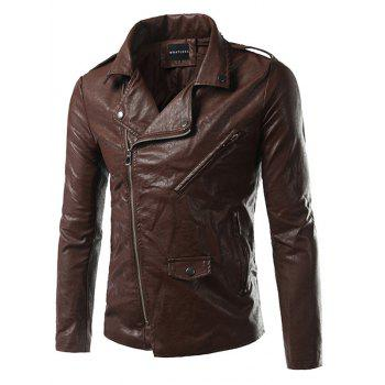 Side Zip Up Epaulet Design Pocket Faux Leather Jacket - BROWN L