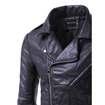 Side Zip Up Epaulet Design Pocket Faux Leather Jacket - 3XL 3XL