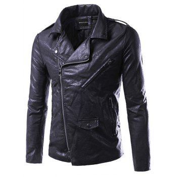 Side Zip Up Epaulet Design Pocket Faux Leather Jacket - BLACK 3XL