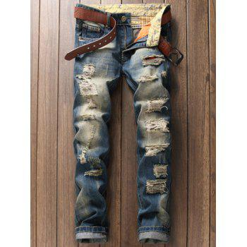 Scratched Zipper Fly Pocket Rivet Ripped Jeans