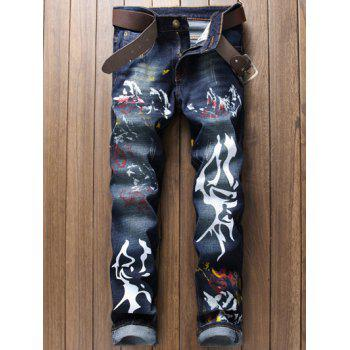 Straight Leg Paint Print Scratched Zipper Fly Jeans