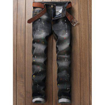 Pocket Rivet Scratched Paint Splatter Jeans