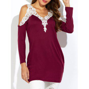 Lace Insert Cold Shoulder Tunic Top