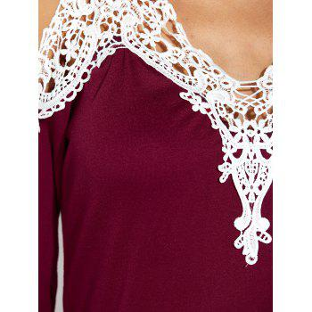 Lace Insert Cold Shoulder Tunic Top - BURGUNDY S