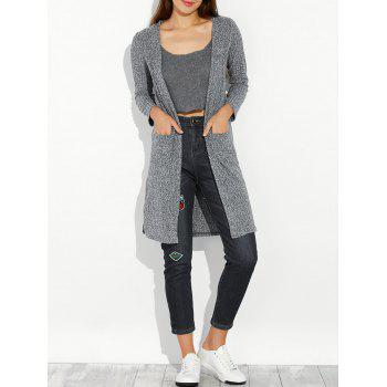 Slit Long Open Cardigan With Pocket