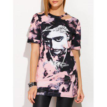 Rock Style Head Portrait Print T-Shirt