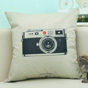 Home Decor Camera Printed Cushion Linen Pillow Case