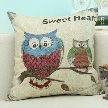 Home Decor Cartoon Owl Printed Cushion Linen Pillow Case