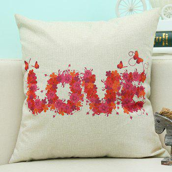 Home Decor Love Letter Printed Cushion Linen Pillow Case