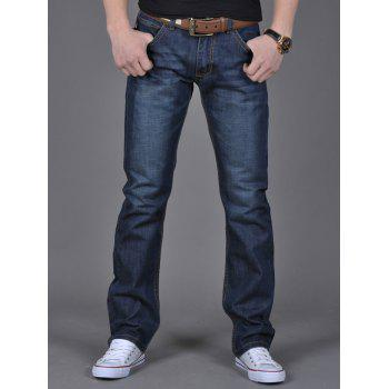 Flap Pocket Zipper Fly Straight Leg Jeans