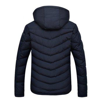 Slim Fit Zipper Up Hooded Quilted Jacket - CADETBLUE CADETBLUE