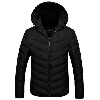 Slim Fit Zipper Up Hooded Quilted Jacket - BLACK 3XL