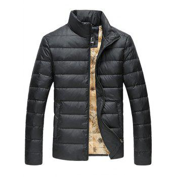 Slim Fit Funnel Neck Zipper Up Quilted Jacket - BLACK 2XL