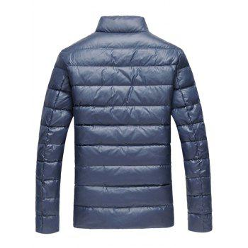 Slim Fit Funnel Neck Zipper Up Quilted Jacket - 5XL 5XL