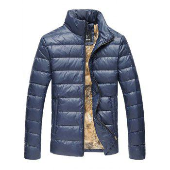 Slim Fit Funnel Neck Zipper Up Quilted Jacket - CADETBLUE 5XL