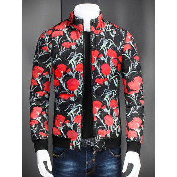 Flower Printed Stand Collar Zip Up Jacket - BLACK BLACK