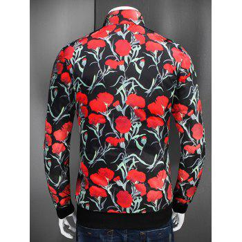 Flower Printed Stand Collar Zip Up Jacket - BLACK 2XL