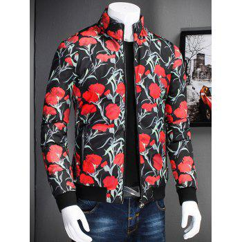 Flower Printed Stand Collar Zip Up Jacket - 2XL 2XL