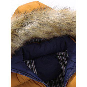 Zipper Color Block Quilted Jacket with Fur Trim Hood - M M