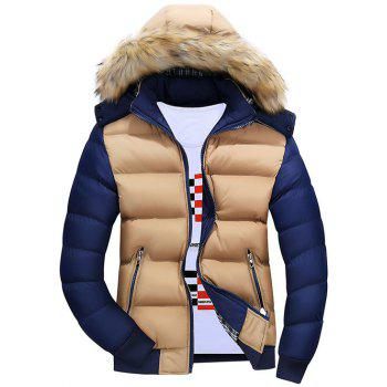 Zipper Color Block Quilted Jacket with Fur Trim Hood - KHAKI M