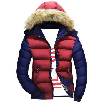 Zipper Color Block Quilted Jacket with Fur Trim Hood - BURGUNDY BURGUNDY