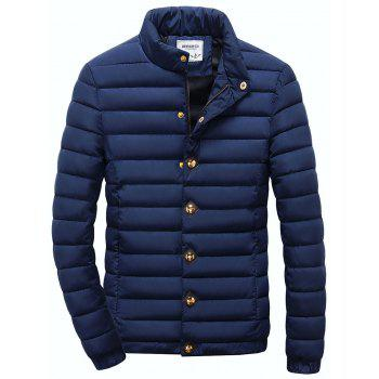 Stand Collar Zipper Button Quilted Jacket