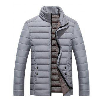 Button Embellished Zipper Up Quilted Jacket - GRAY L