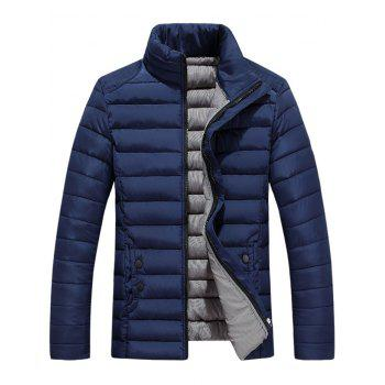 Button Embellished Zipper Up Quilted Jacket - CADETBLUE 3XL