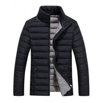 Button Embellished Zipper Up Quilted Jacket - BLACK XL