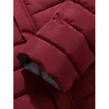 Button Embellished Zipper Up Quilted Jacket - 3XL 3XL
