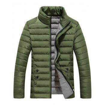 Button Embellished Zipper Up Quilted Jacket - ARMY GREEN ARMY GREEN