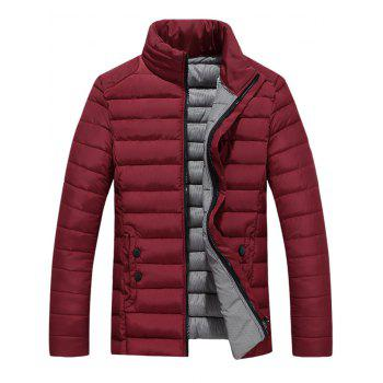 Button Embellished Zipper Up Quilted Jacket - WINE RED 2XL