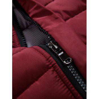 Button Embellished Zipper Up Quilted Jacket - XL XL