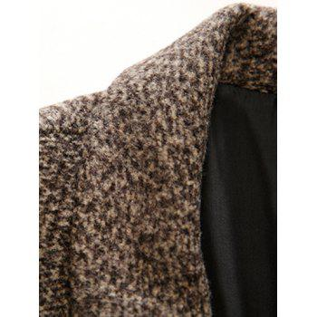 Lapel Single Breasted Wool Mix Tweed Overcoat - DARK KHAKI M