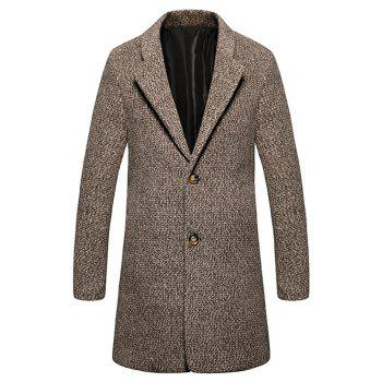 Lapel Single Breasted Wool Mix Tweed Overcoat