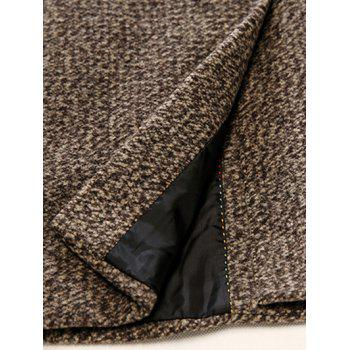Lapel Single Breasted Wool Mix Tweed Overcoat - BLACK L