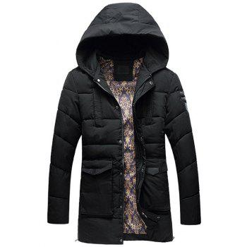 Flap Pocket PU Patch Hooded Padded Coat