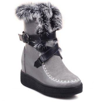 Faux Fur Cross Straps Belt Buckle Short Boots