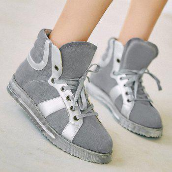 Tie Up Colour Block Splicing Ankle Boots