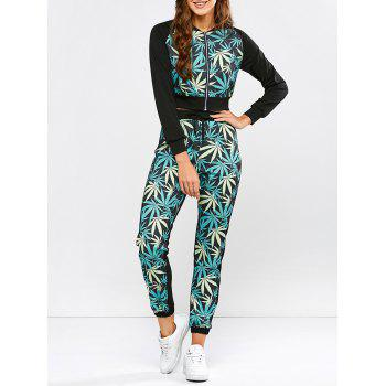 Leaf Print Running Jacket and Drawstring Jogger Pants - BLACK AND GREEN S