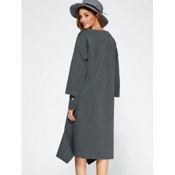 Loose High Low Dress - GRAY ONE SIZE