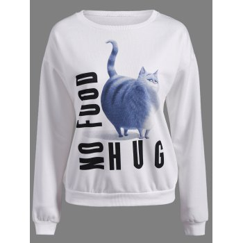 3D Kitten Print Drop Shoulder Sweatshirt