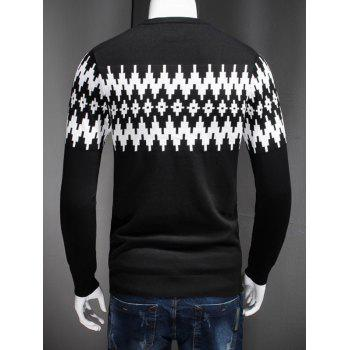 Color Block Geometric Spliced Plus Size Long Sleeve Sweater - BLACK L