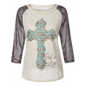Cross Print Leopard Splicing Raglan Sleeve T-Shirt
