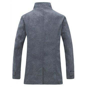 Stand Collar Zippered Epaulet Design Pea Coat - GRAY M