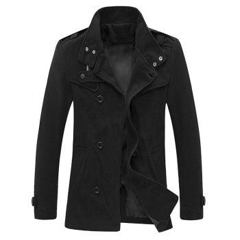 Stand Collar Zippered Epaulet Design Pea Coat