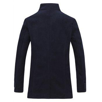 Stand Collar Zippered Epaulet Design Pea Coat - CADETBLUE L