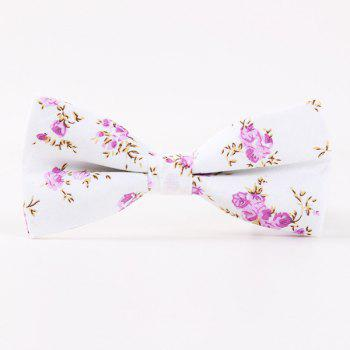 Wedding Party Floral Pattern Bow Tie - PURPLE PURPLE