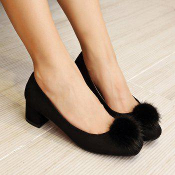 Suede Pompon Square Toe Pumps - BLACK 39