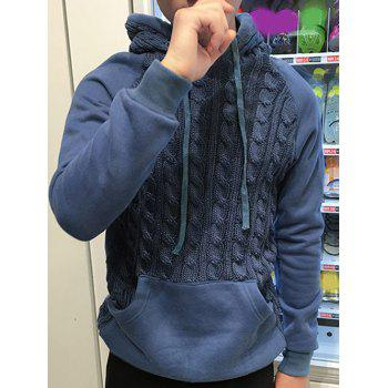 Kink Design Knitting Splicing Hooded Long Sleeve Hoodie